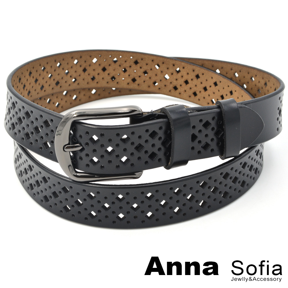 AnnaSofia 續排菱鏤洞 二層牛皮真皮腰帶(黑系)