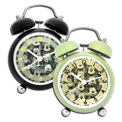 Disney 迪士尼 / 米奇 雙鈴 童趣 超大鈴聲 金屬質感 指針鬧鐘 - 綠/黑
