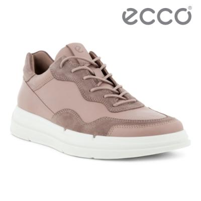 ECCO SOFT X W 拼接運動風休閒鞋 女鞋 木粉色