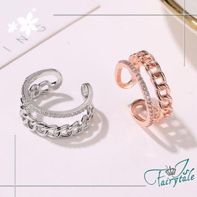 iSFairytale伊飾童話 雙層麻花 韓風水鑽彈性開口戒指 2色可選