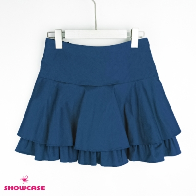 【SHOWCASE】浪漫傘襬雙層荷葉短褲裙-藍