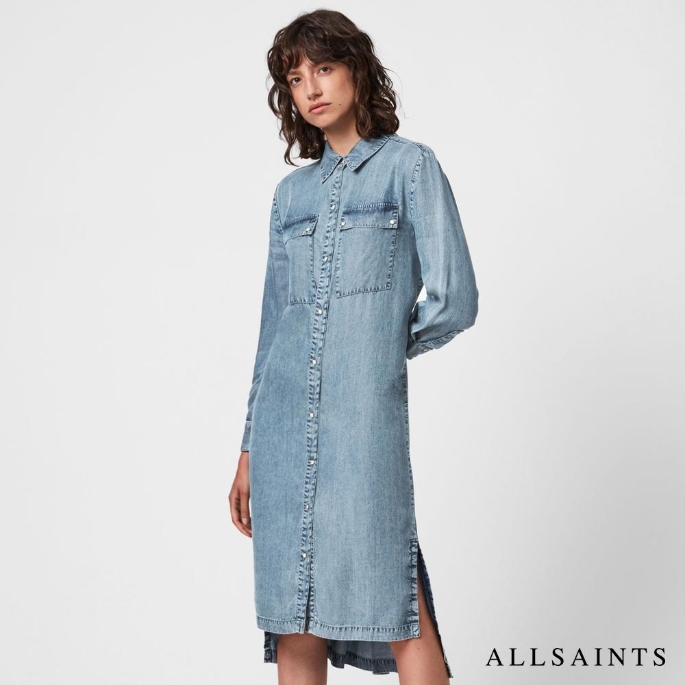ALLSAINTS MARAN 復古優雅丹寧襯衫式中長版連身裙洋裝-淺靛藍