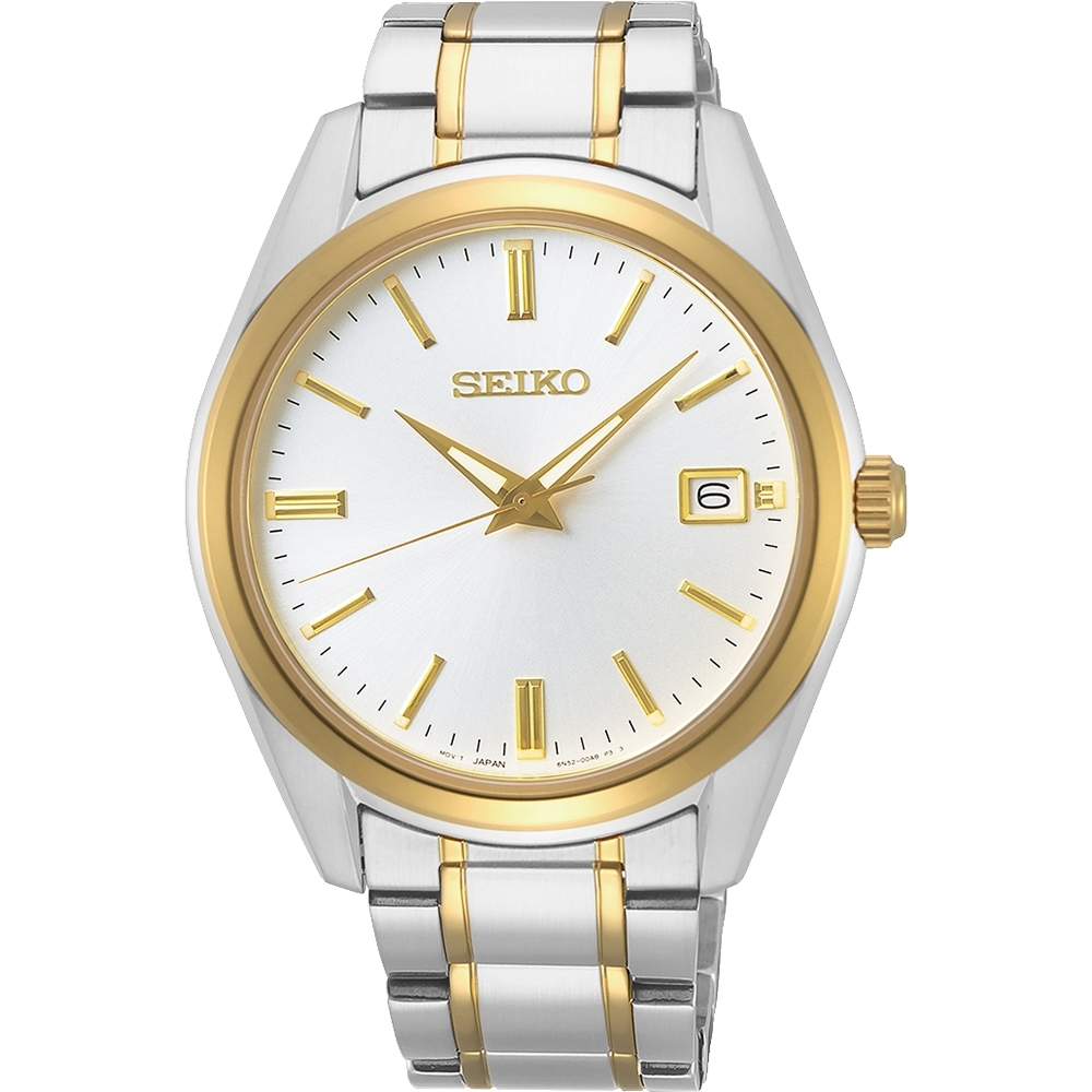 SEIKO 精工 CS 時尚石英手錶(SUR312P1)-銀x雙色39mm