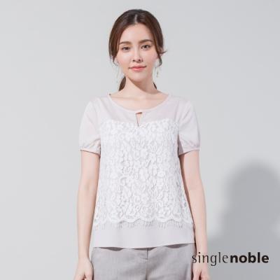 獨身貴族 優雅蕾絲拼接短袖上衣(2色)