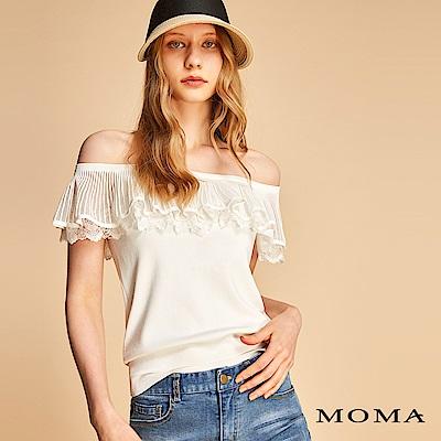 MOMA 一字荷葉領針織上衣