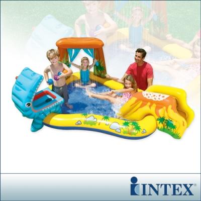 INTEX 恐龍噴水戲水游泳池/小滑水道 249x191cm (310L)適用2歲+(57444)