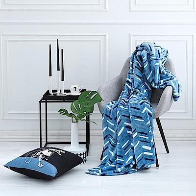 ELLE 巴黎夜藍超細纖維 單人印花毯