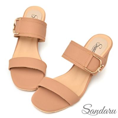 山打努SANDARU-拖鞋 美型優雅大金釦粗跟拖鞋-粉