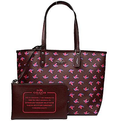 【COACH】馬車燕子圖案雙面兩用大托特包(咖啡紅)
