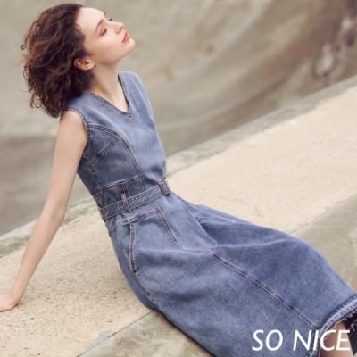 SO NICE率性V領造型丹寧洋裝