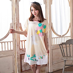 睡衣 牛奶絲質短袖連身睡衣(C01-100563白熊氣球海) Young Curves