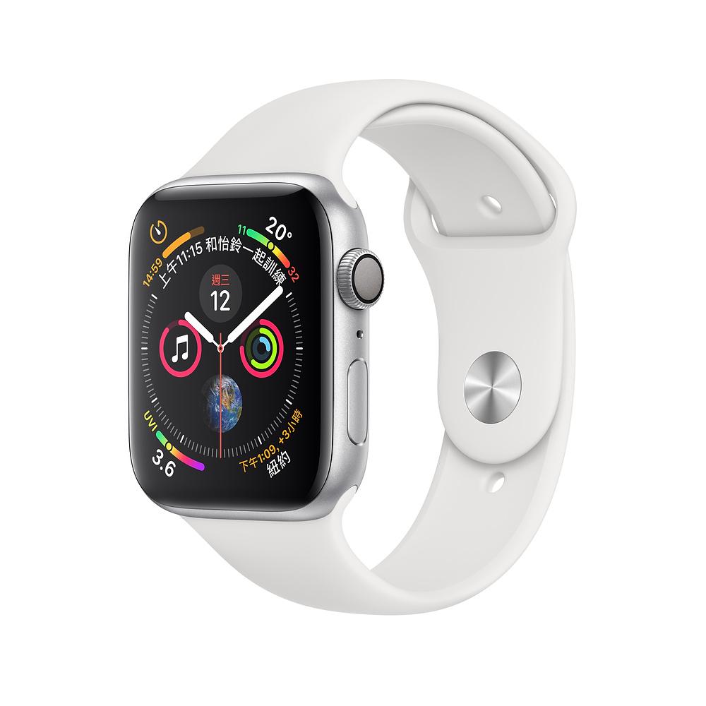 Apple Watch Series 4 GPS44mm 銀色鋁金屬錶殼搭配白色運動錶帶