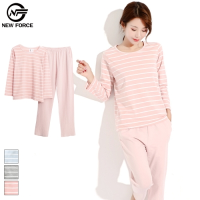 NEW FORCE 長袖棉質條紋睡衣套裝-粉白