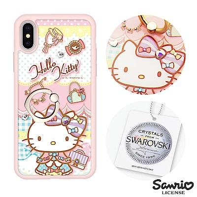 三麗鷗 Kitty iPhoneX 施華彩鑽減震指環扣手機殼-淑女凱蒂