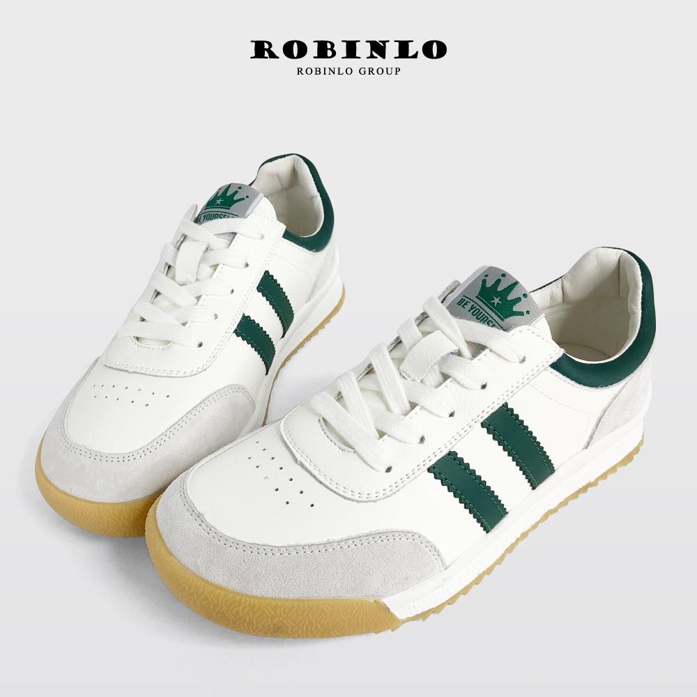 Robinlo經典復古牛皮雙線拼接休閒鞋小白鞋 綠
