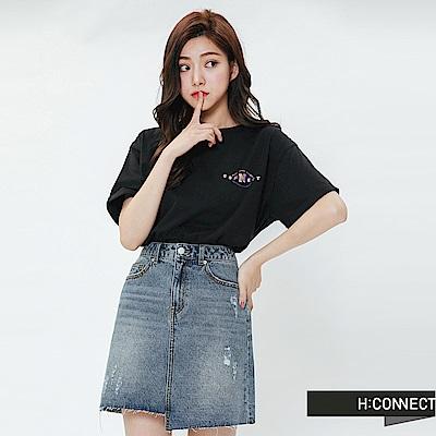 H:CONNECT 韓國品牌 女裝-活力彩色圖印T-shirt-黑
