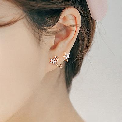 梨花HaNA 韓國925銀針花卉鋯石曲線雙晶滿鑽耳環