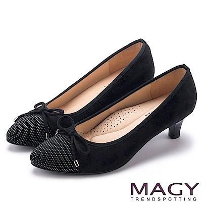 MAGY 氣質首選 點點布面百搭中跟鞋-黑色