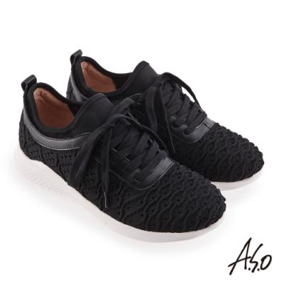 A.S.O 機能休閒 活力雙核心牛皮網布綁帶休閒鞋-黑