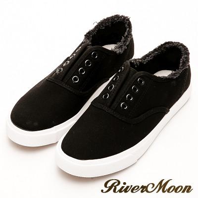 River&Moon韓系抽鬚無鞋帶懶人帆布鞋-黑