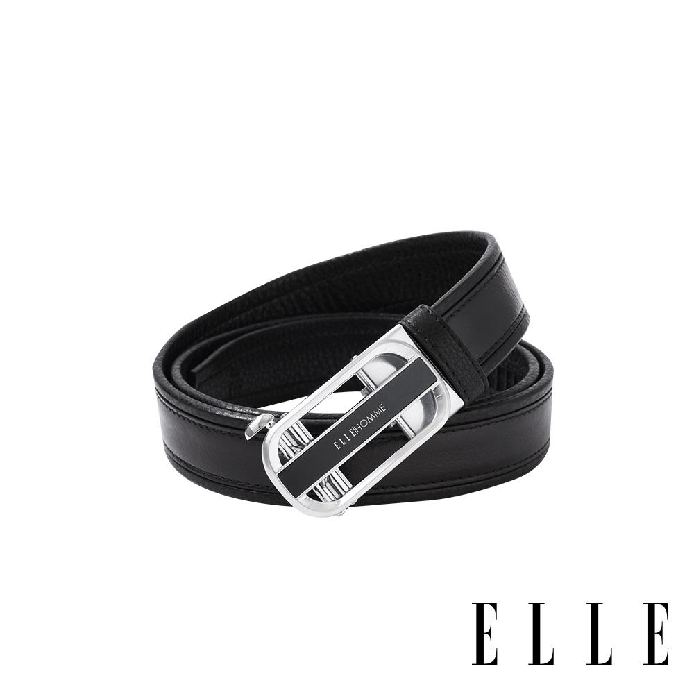 ELLE HOMME - 紳士經典設計自動釦真皮皮帶-銀色拉絲 EL307018