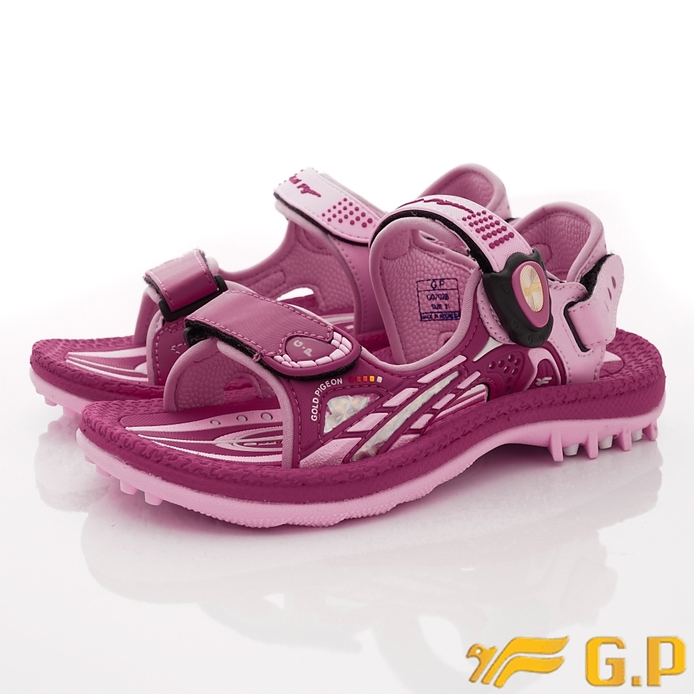 GP時尚涼拖 磁扣排水涼鞋款 ZE702B-45桃紅(中大童段)