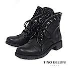 Tino Bellini義大利進口華麗搖滾領綁帶短靴_黑