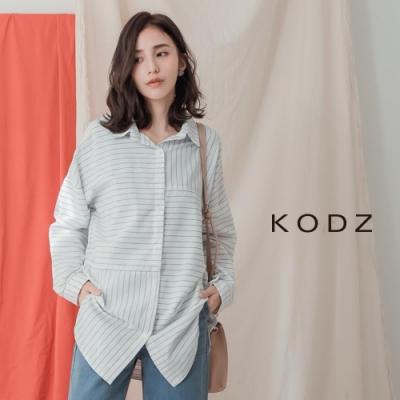 東京著衣-KODZ 知性女人不規則條紋經典襯衫-S.M.L