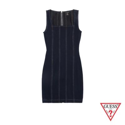 GUESS-女裝-方領牛仔連身洋裝-藍