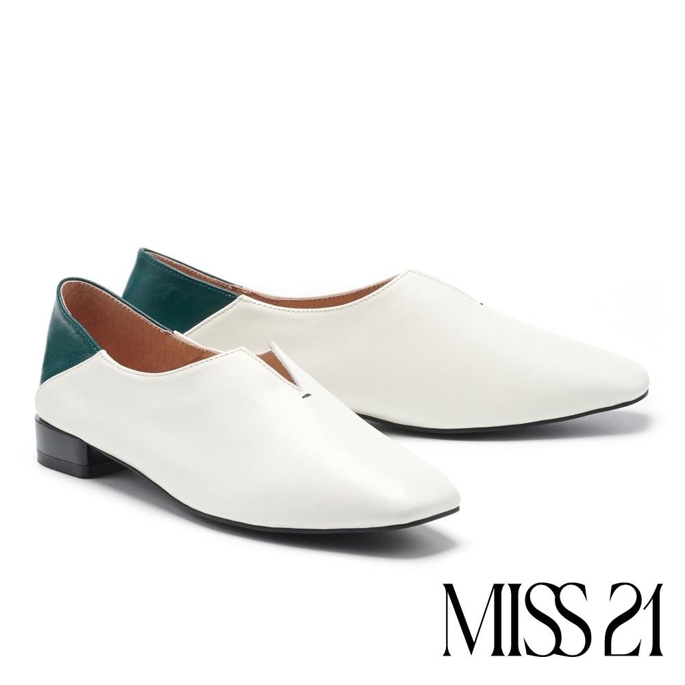 低跟鞋 MISS 21 玩味小文青拼接設計真皮方頭低跟鞋-米白