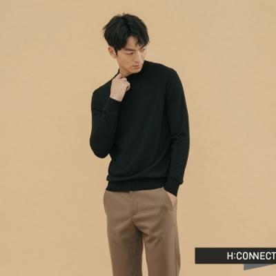 H:CONNECT 韓國品牌 男裝 - 純色小立領針織上衣 - 黑