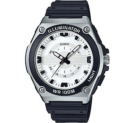 CASIO經典簡約立體三針三眼指針休閒錶-白面x黑(MWC-100H-7)/46.7mm