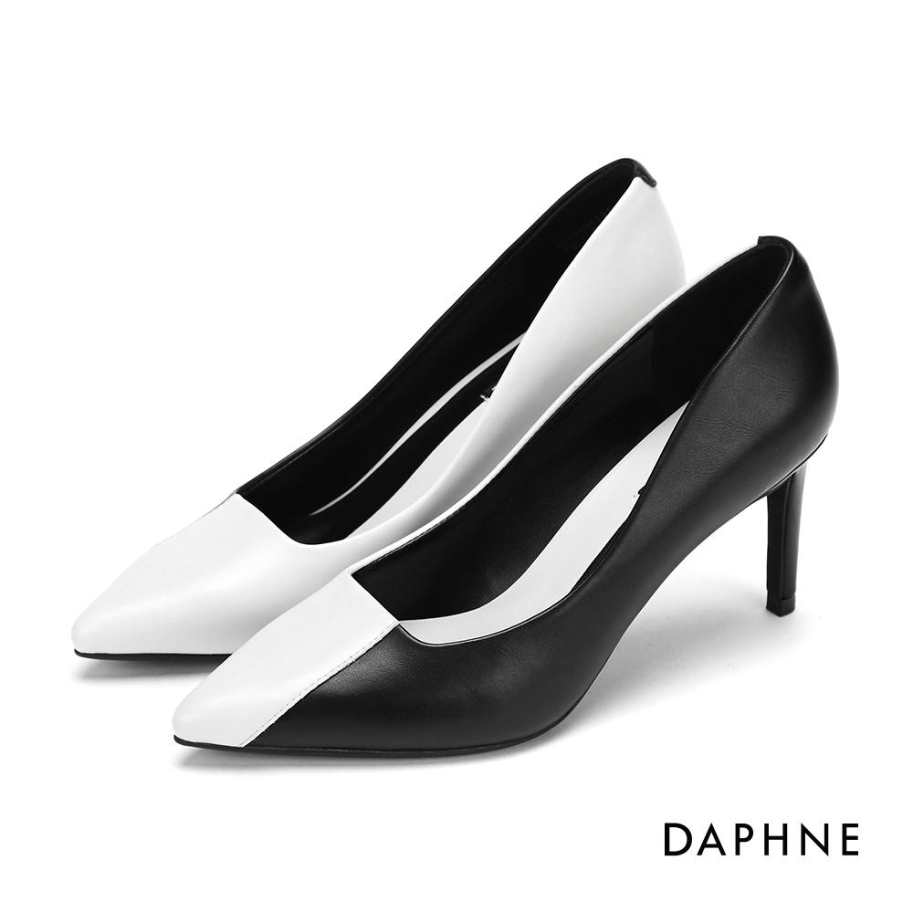達芙妮DAPHNE 高跟鞋-復古拼色優雅尖頭高跟鞋-黑