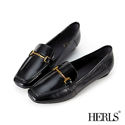 HERLS 全真皮馬銜釦方頭漆皮樂福鞋-黑色