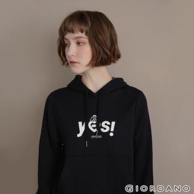 GIORDANO  女裝CHECKS連帽T恤 - 62 標誌黑