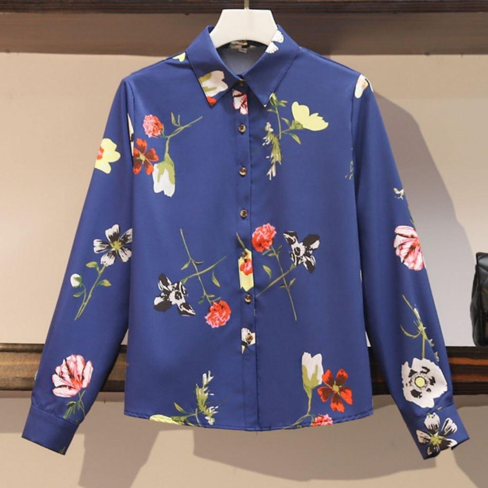 MOCO藍底花朵蝴蝶印花開釦襯衫L~4XL @ Y!購物