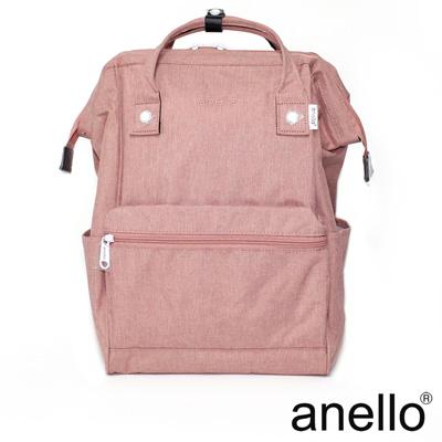 日本正版anello 高雅混色紋理 刺繡LOGO後背包〈淺粉色NPI〉L