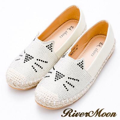 River&Moon懶人鞋-亮鑽貓咪麻編休閒鞋-杏