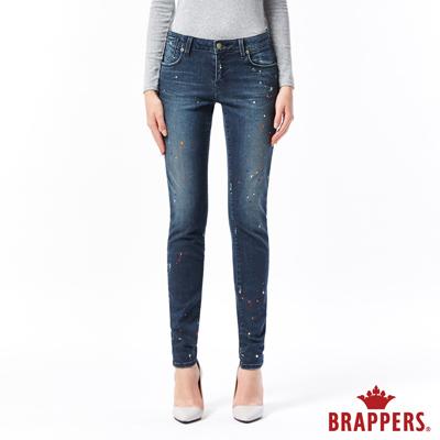 BRAPPERS 女款 新美腳ROYAL系列-中低腰彈性噴漆窄管褲-藍黑