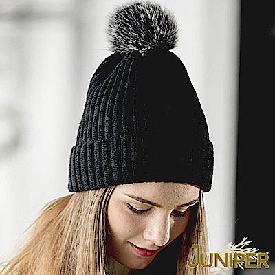 JUNIPER 女款針織加絨可拆卸毛球帽