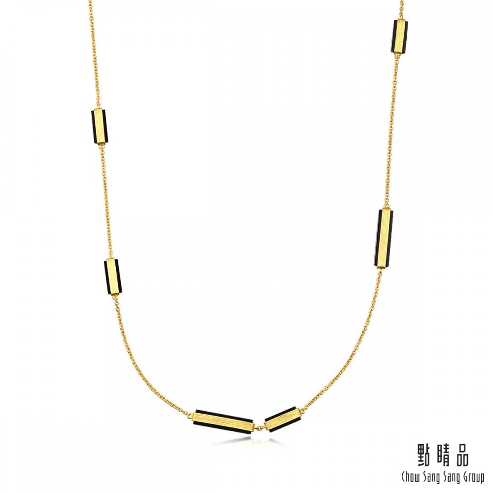 點睛品g collection 矩形黑玉髓 黃金項鍊
