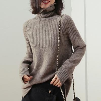 JILLI-KO 保暖高領拼接壓紋針織毛衣- 卡/灰