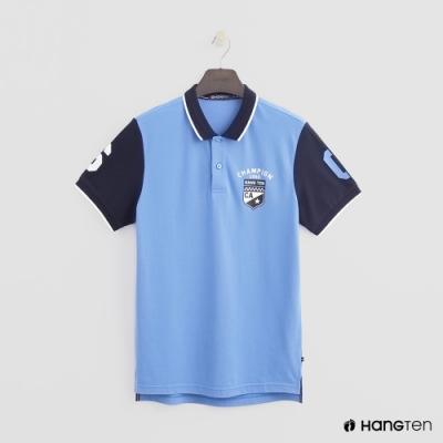 Hang Ten - 男裝 - 數字logo撞色款POLO衫 - 藍