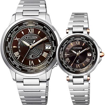 CITIZEN 星辰 XC 限量光動能電波對錶-可可棕x銀/38+29mm