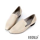 HERLS 全真皮時髦小方頭素面樂福鞋-米灰色