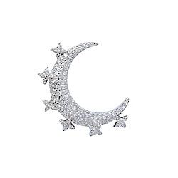 apm MONACO法國精品珠寶 一千零一夜月亮閃耀星芒單邊銀色耳針式耳環