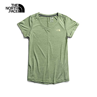 The North Face北面女款綠色透氣T恤|3RLC1LR