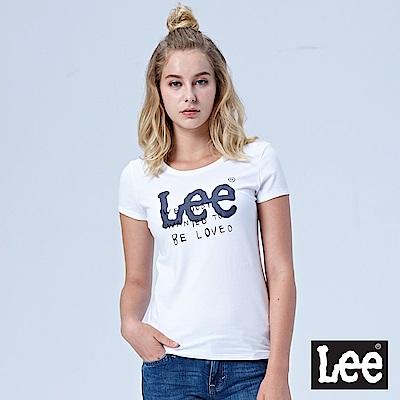 Lee LOGO文字印刷短袖圓領TEE-白色