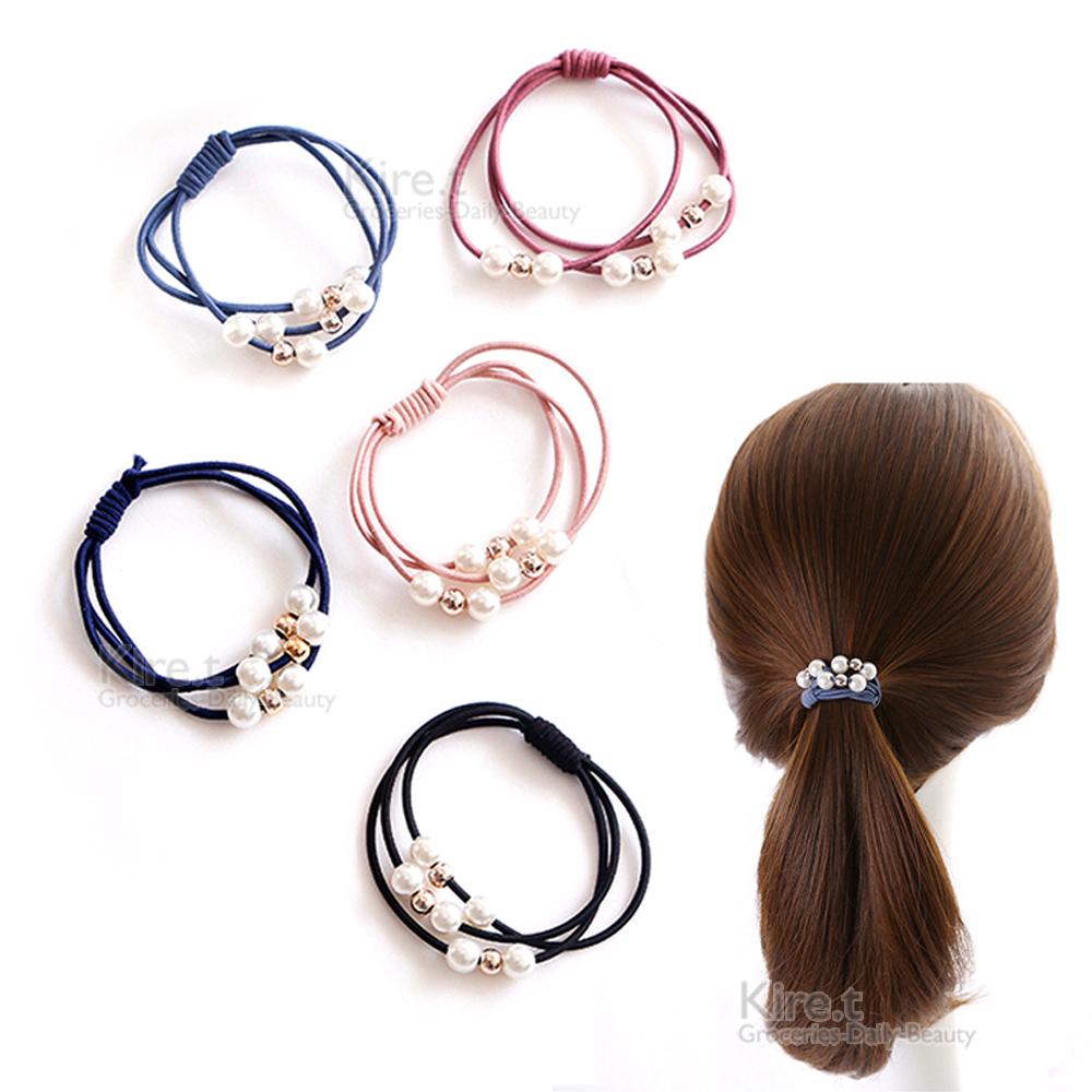 韓國簡約 氣質 多層珍珠髮圈 莫蘭迪色系-超值8入kiret