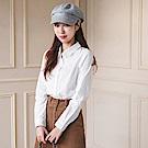清新純色立體直條花紋高含棉襯衫-OB大尺碼